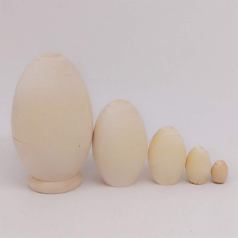 SUPVOX Bambole Russe di nidificazione in Legno Bambole impilabili Uovo Non Verniciato 5 Strati Bambole matrioska Ornamenti Collezione Giocattolo Fai da Te Festival Festival Regalo di Compleanno