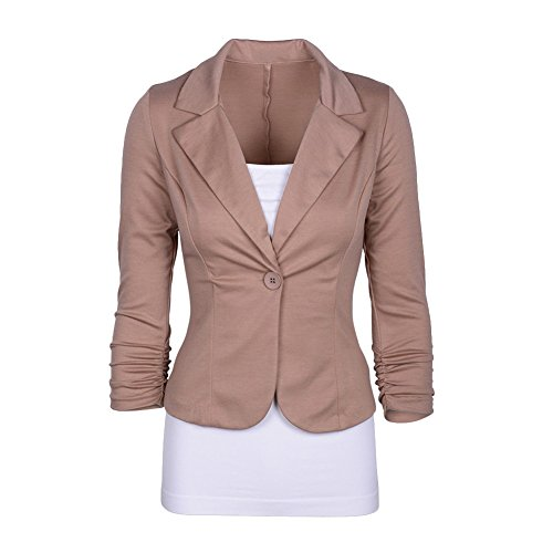 Work Button 14 Colors Suits Slim Blazer Coat Outerwear Blazer One Jacket Tailored Fitted Womens Office Khaki 8nw5C1Wqx
