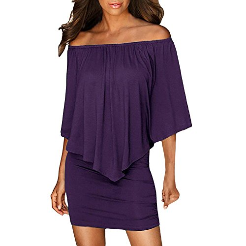 Para De xl Púrpura Sólido Mini Vestido Color Mujer Jutoo Hombro qY7xvE