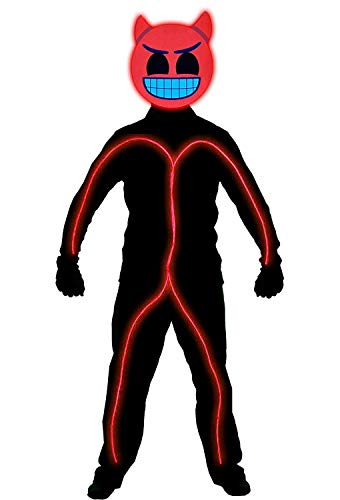 GlowCity Light Up Super Bright Devil Emoji Stick Figure Costume for Parties Lighting & Mask Kit - Clothing Not Included - Red - Medium 5-6 FT Tall -