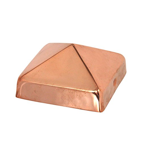 4x4 Copper Pyramid Post Cap by Captiva - Extended Lip - Solid Copper - Will Patina Naturally (3-1/2