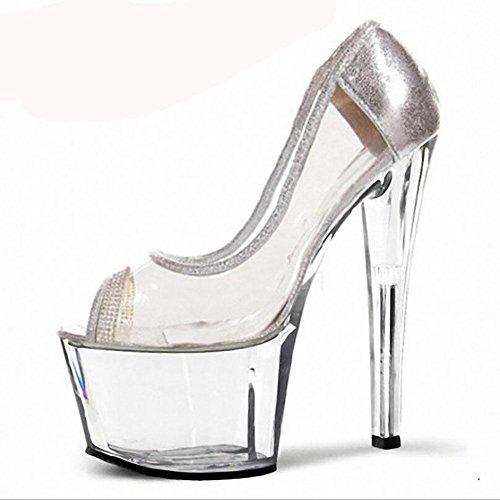 Printemps et été imperméables transparents Sandales Superfine cristal talons hauts des femmes , silver , 45