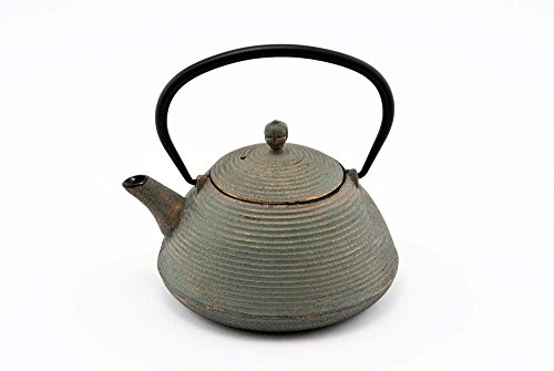 Hinomaru Collection Artisan Workshop Japanese Tetsubin Tea Kettle Cast Iron Teapot with Stainless Steel Infuser Antique Green 27 oz