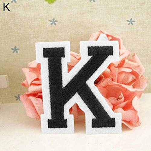 (Aland English Alphabet Letter A-Z Embroidered Sew Iron On Patch Badge DIY Applique Adhesive Tape Stickers Wholesale A Full Set of 26 English Letters)