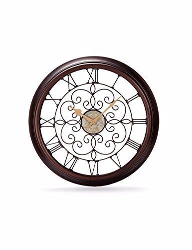 SUNQIAN-Continental retro creative living room clock, watch, hollow iron Rome word clock, American silent clock, a large clock by SUNQIAN