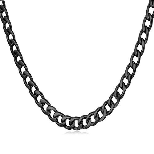 Men Black Necklace Stainless Based Black Gun Metal Plated 5mm Wide Cuban Curb Chain Necklace (22 - Gunmetal Black