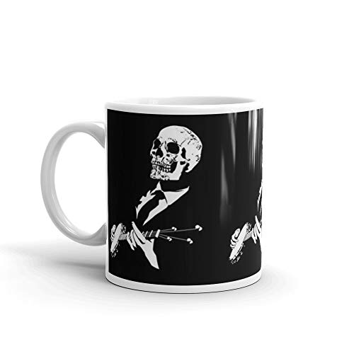 Banjo Playing Skull - Band Music 11 Oz White Ceramic]()
