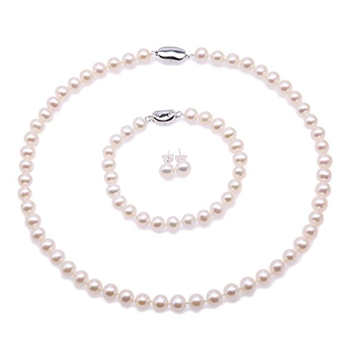 JYX Pearl Necklace Set AA+ Quality 7-8mm Natural Freshwater Cultured Round Pearl Necklace Bracelet and Earrings Set ()
