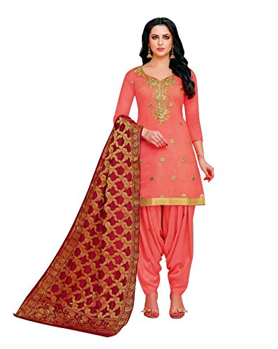 ladyline Fromal Plain Blend Silk Embroidered Salwar Kameez with Patiala Salwar and Banarasi Dupatta