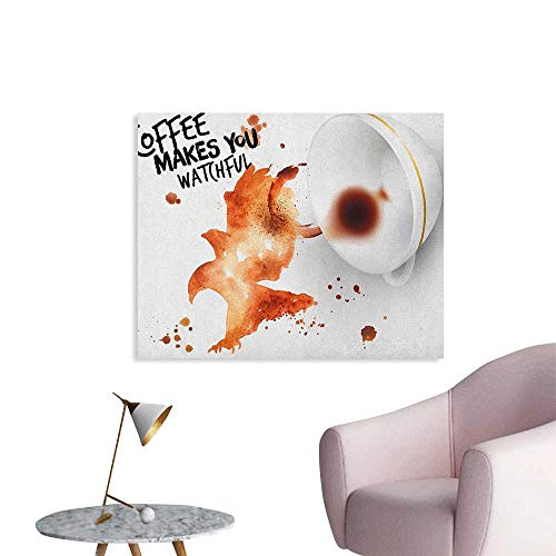 Anzhutwelve Coffee Art Wallpaper Open Wings Eagle Strong Bird with Coffee Makes You Watchful Quote Funny Poster Burnt Sienna Black White W28 xL20 ()