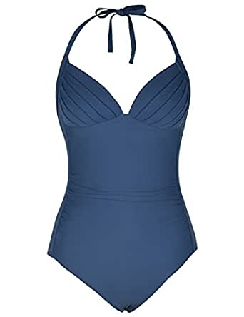 Firpearl Women's One Piece High Waisted Halter V Plunge Retro Ruched Swimsuit Aquamarine Blue 6
