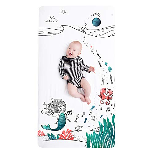 JumpOff Jo Cotton Crib Sheet, Moonlight Mermaid