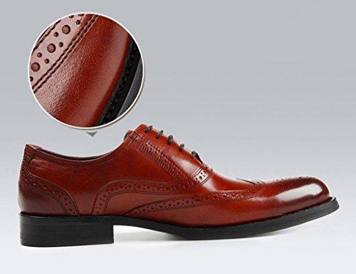 Herren Lederschuhe Männer Lederschuhe wies formelle tragen britische Art Business atmungsaktive einzelne Schuhe Herrenschuhe ( Farbe : Red-brown , größe : EU39/UK6 ) Red-brown