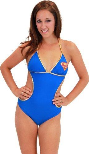 DC Comics Supergirl Superman Triangle Monokini One Piece Bathing Suit M -