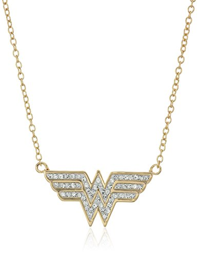 DC+Comics Products : DC Comics Girls' Gold-Tone and Crystal Wonder Woman Pendant Necklace, 18""