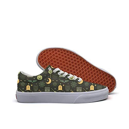 Halloween pumpkin spider owl ghost black Women's Slip on shoes Low Top Sneaker -