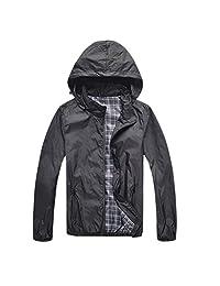 SODIAL(R) Man Waterproof Jackets Spring Autumn Men Sportswear Fitness Windbreaker Zipper Sport Coats Black M