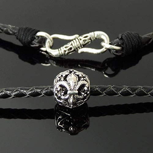 90s Choker Goth Punk Fashion Handmade Necklace, Genuine Turkish Black Leather, Carved Sterling Silver Fleur de Lis Charm, S-Hook Clasp, Non-plated, Mens Womens, Unisex Casual Wear