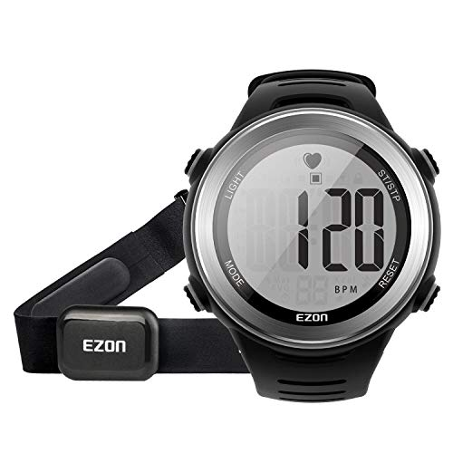 EZON Running Digital Watch Heart Rate Monitor Chest Strap Waterproof with Chronograph Stopwatch Calorie Counter, Large Display for Men Black T007A11
