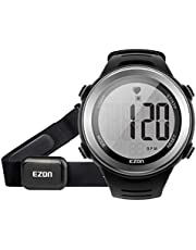 EZON Heart Rate Monitor Digital Sports Watch for Outdoor Running with Chest Strap, Heart Rate Alarm, Stopwatch,Daily Alarm and Calendar