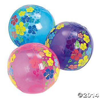 One Dozen Inflatable Mini Hibiscus Beach Balls/LUAU/BEACH/HAWAIIAN Party Supplies/POOL/WATER Toys