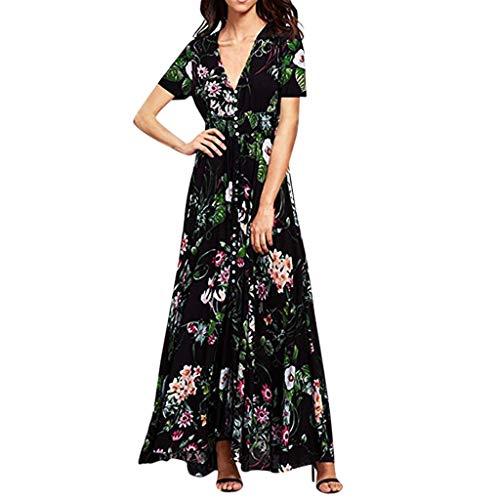 (Wedding Dress,Chaofanjiancai Women Floral Print Button Up Split Flowy Party Maxi Dress Summer Beach Casual Dress Black)