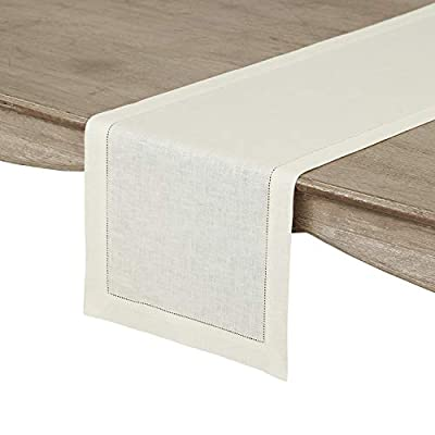 Solino Home 100% Pure Linen Hemstitch Table Runner - 14 x 72 Inch, Handcrafted from European Flax, Machine Washable Classic Hemstitch - Ivory - Handcrafted by skilled Artisans from 100% European Flax Size - 14 x 72 Inch Easy Care - Machine Washabl - table-runners, kitchen-dining-room-table-linens, kitchen-dining-room - 41BIQxlYAvL. SS400  -