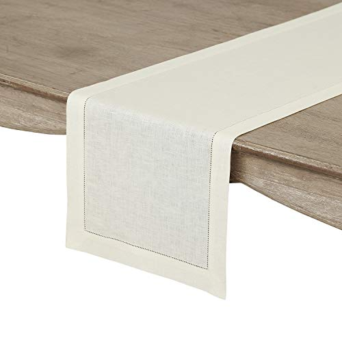 (Solino Home Hemstitch Linen Table Runner - 14 x 120 Inch, Handcrafted from European Flax, Machine Washable Classic Hemstitch -)