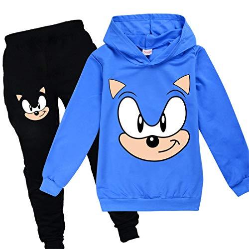 Sonic Hoodie en broek Sportkleding Jongens Trainingspak Meisjes Leuke Cartoon Prints De Egel Kostuum Trui