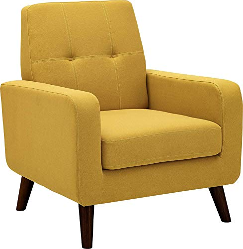 Dazone Accent Chair Modern Armchair Upholstered Linen Fabric Single Sofa Chair Living Room Furniture Mustard Yellow