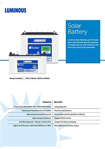 Luminous LPTT12150H 150Ah Solar Tall Tubular Battery (60Months) 2021 June Safe to use Easy to use Solar Battery
