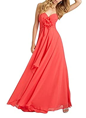 Hanxue Women's Big Flower Long Chiffon Dress Strapless Evening Dresses