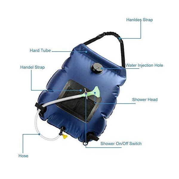 41BIRsWJJ3L KIPIDA Solardusche Outdoor, 20L Campingdusche Solar Wassersack Heizung Camping Dusche Tasche mit Duschkopf Gartendusche…