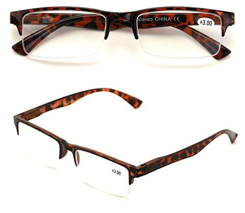 (2 Pairs Rectangular Half Rim Reading Glasses - Simple Classic Reader (Tortoise, 2.00))