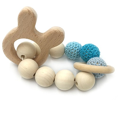 Amyster Crochet Bead Teething Ring Set Untreated Beech Teether with Organic Wood Rabbit Toy Wood Bracelet Baby Mom Kids Wooden Teether Bangle