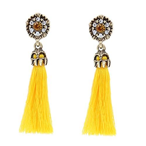 Women Vintage Earring Hollow Crystal Tassel Dangle Stud Earrings (Yellow)