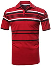 SBW Men's Basic Everyday Stripe Polo T-Shirt