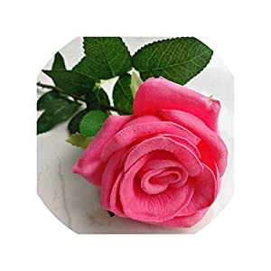 Artificial Flowers 11P Real Touch Rose Flower Pink/Blue/Black/Red/Yellow/Purple Pu Roses Artificial Rose 43Cm for Wedding Party Decorative Flowers,60Cm Rose Red 1