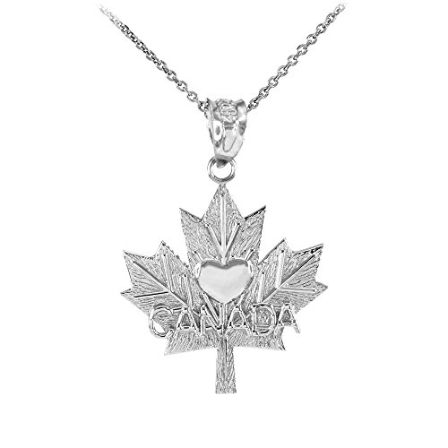 925 Sterling Silver Maple Canada Maple Leaf with Heart Pendant Necklace , 20