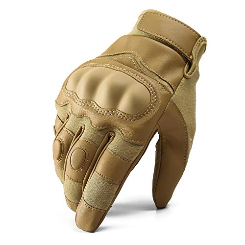 TACVASEN Full Finger Hard Knuckle Leather Palm Carbon Fiber Glove Army Shooting Motorcycle Gloves Brown