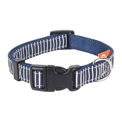 Seoul Pet Supplies Stripe Adjustable Dog Collar for Small Dogs (Red Blue Brown) (Blue)