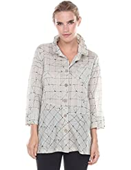 Terra ¾ Sleeve Woven Button Down Shirt with Organic Grid Print