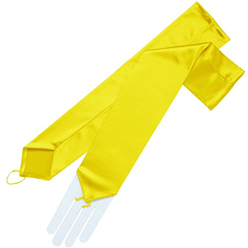 ZaZa Bridal Stretch Satin Fingerless Gloves Opera Length 16BL-Lemon Yellow
