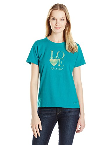 Short Sleeve Crusher (Life is good Women's Love Stack Watercolor Crusher Tee, X-Small, Beachy)