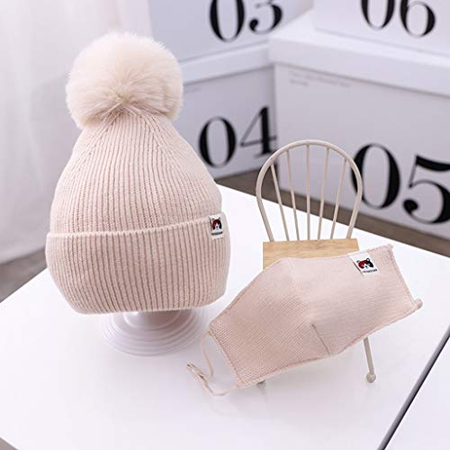 Baby Girls Boys Winter Beanie Hat Face Protection Set Toddler Warm Knitted Hats Circle Face Protection for Infant Newborn Winter Pom Hat