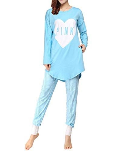 VENTELAN Women Long Sleeve Heart Printed Sleepwear Korean Fashion Pajamas Set Blue X-Small(USA - Size Usa 2