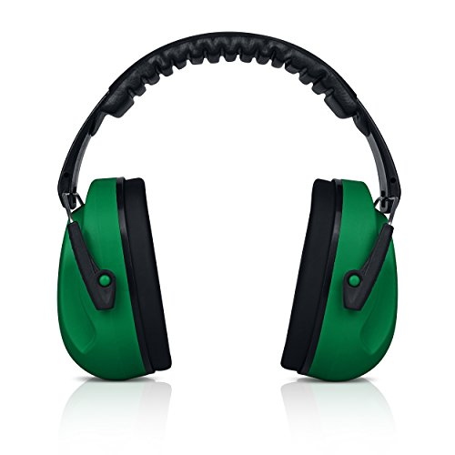 HearTek Kids Ear Protection Noise Reduction Children Protective Earmuffs - Sound Cancelling Hearing Muffs for Toddler, Baby, Infants - Adjustable, Foldable with Travel Bag - Dark Green