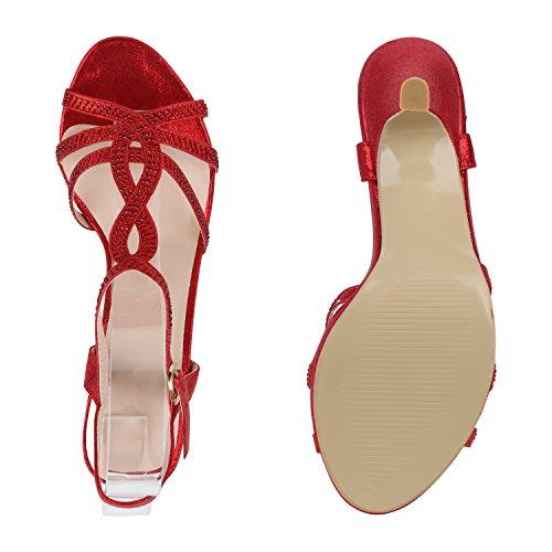 Stiefelparadies Damen Riemchensandaletten High Heels Sandaletten Stiletto Party Schuhe Glitzer Elegante Abendschuhe Abiball Flandell Rot