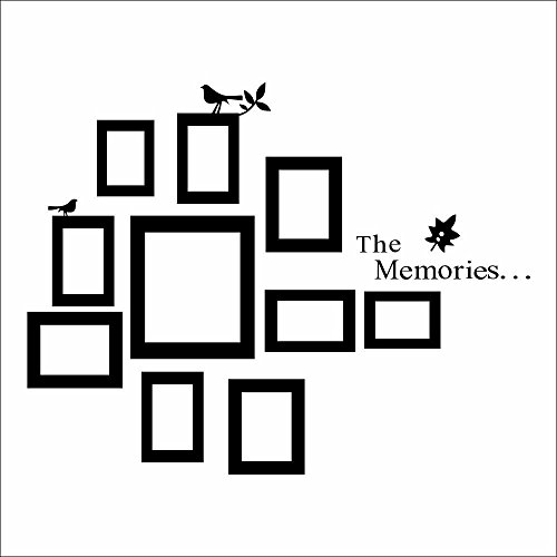 (kiskistonite The Memories Quotes Wall Decor with 10 Photo Frames Wall Sticker DIY Removable Vinyl Family Lettering Sayings Wall Decor | Wall Stickers for)