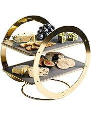 Artesà, dwupoziomowa patera w kształcie pierścienia, do żywności, 2 poziomy, prostokątne płyty łupkowe, idealna na popołudniową kawę, ciasto lub imprezy, 31,5 x 22,5 x 30 cm – wygląd mosiądzu